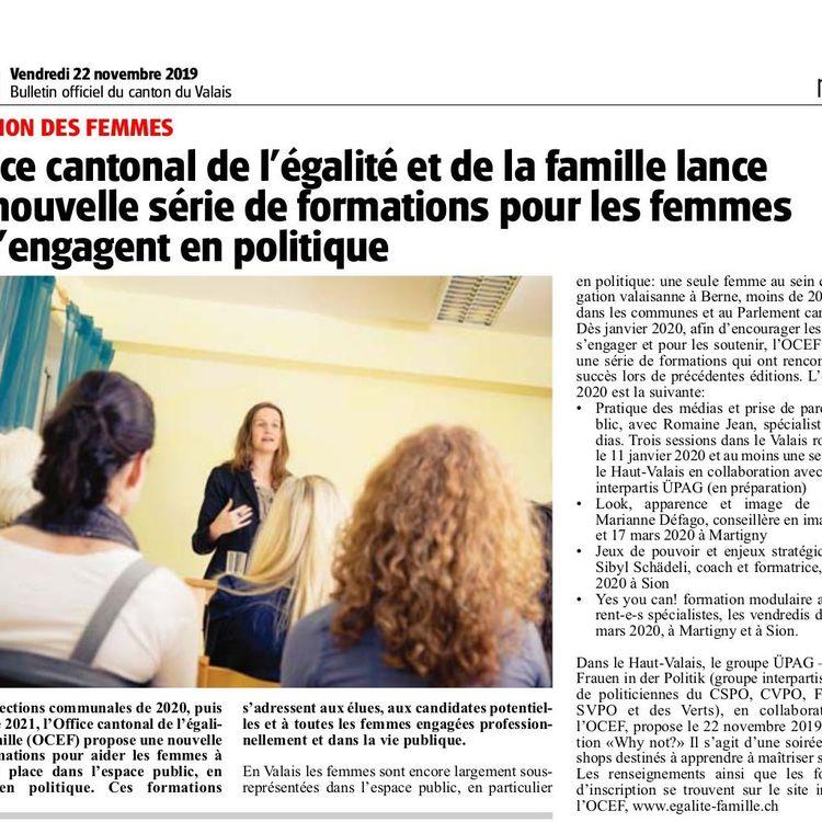 L'Office cantonal de l'égalité et de la famille lance une nouvelle série de formations pour les femmes qui s'engagent en politique